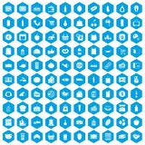 100 supermarket icons set blue. 100 supermarket icons set in blue hexagon isolated vector illustration Royalty Free Stock Photography