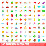 100 supermarket icons set, cartoon style. 100 supermarket icons set in cartoon style for any design vector illustration Royalty Free Stock Photography