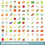 100 supermarket icons set, cartoon style. 100 supermarket icons set in cartoon style for any design vector illustration Stock Image