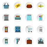 Supermarket icons set, flat style. Supermarket icons set. Flat illustration of 16 supermarket icons for web royalty free illustration