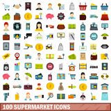 100 supermarket icons set, flat style Royalty Free Stock Image