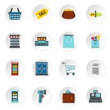 Supermarket icons set, flat style. Supermarket icons set. Flat illustration of 16 supermarket vector icons for web Vector Illustration