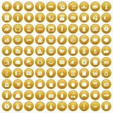 100 supermarket icons set gold. 100 supermarket icons set in gold circle isolated on white vector illustration Stock Photo