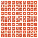 100 supermarket icons set grunge orange. 100 supermarket icons set in grunge style orange color isolated on white background vector illustration stock illustration