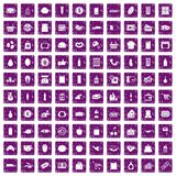 100 supermarket icons set grunge purple. 100 supermarket icons set in grunge style purple color isolated on white background vector illustration Stock Images
