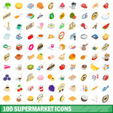 100 supermarket icons set, isometric 3d style Stock Images