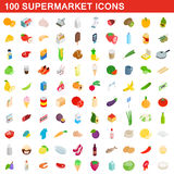 100 supermarket icons set, isometric 3d style. 100 supermarket icons set in isometric 3d style for any design vector illustration Stock Photo