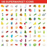 100 supermarket icons set, isometric 3d style. 100 supermarket icons set in isometric 3d style for any design illustration royalty free illustration