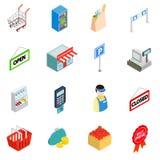 Supermarket icons set, isometric 3d style stock illustration