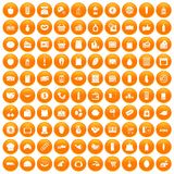 100 supermarket icons set orange. 100 supermarket icons set in orange circle isolated on white vector illustration royalty free illustration