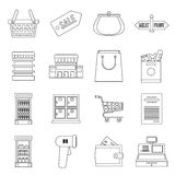 Supermarket icons set, outline ctyle Royalty Free Stock Photography