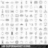 100 supermarket icons set, outline style Stock Photo