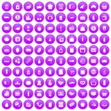 100 supermarket icons set purple. 100 supermarket icons set in purple circle isolated on white vector illustration Royalty Free Stock Images