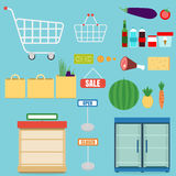 Supermarket icons set. Shopping shelves and foods icons royalty free illustration