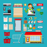 Supermarket icons. Store and shopping shelves, cart and basket stock illustration