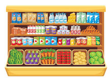 Supermarket. Image of shelves with different products in the supermarket stock illustration