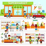 Supermarket infographic elements. Flat vector design illustration. People choose products in the shop and buy goods. Man and woman standing at the checkout in Stock Photos