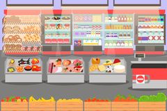 Supermarket interior on the checkout. With different sections - fruits, meat, cheese and milk products. Big shopping mall. Shelves with products and drinks Royalty Free Stock Images