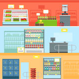 Supermarket Interior Design. Supermarkets and grocery stores. Retail shop for buy product on shelf, purchase and department food, sale and cart with variety food royalty free illustration
