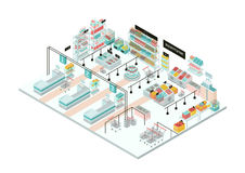 Supermarket interior. Grocery store. Colorful isometric illustration. Stock Image
