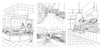 Supermarket interior hand drawn contour illustrations set. Grocery store: fish, bread, fruit, vegetable departments with. Shoppers Royalty Free Stock Image
