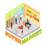 Supermarket Interior in Isometric Projection. Stock Photos