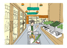 Supermarket interior with shopper girl. Grocery store, hand drawn colorful illustration. Royalty Free Stock Image