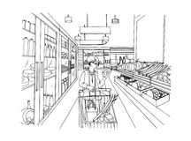 Supermarket interior with shopper girl. Grocery store, hand drawn colorful illustration. Royalty Free Stock Photo