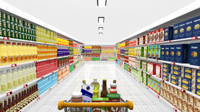 Supermarket interior and shopping Royalty Free Stock Photo