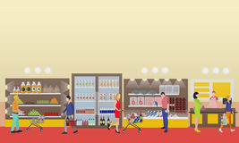 Supermarket interior vector illustration in flat style. Customers buy products in food store. Royalty Free Stock Photography