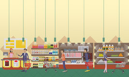 Supermarket interior vector illustration in flat style. Customers buy products in food store. Stock Photography