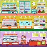 Supermarket interior vector illustration in flat style. Product items in food store. Groceries and foodstuff on shelves Royalty Free Stock Image