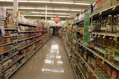 Supermarket Isle. Supermarket food shopping products aisle Stock Photography