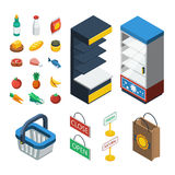 Supermarket Isometric Icon Set. With isolated elements of food equipment and grocery attributes vector illustration Stock Photos