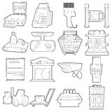 Supermarket items icons set, outline cartoon style Royalty Free Stock Images