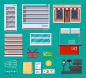 Supermarket items set. Fridge, shelf, cart, basket, paper shopping bag, shop store building, grocery checkout counter, payment options and cash machine. Vector royalty free illustration