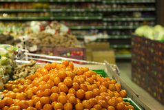 In supermarket juicy fresh oranges Royalty Free Stock Photo