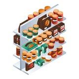 Supermarket karmowa szelfowa ikona, isometric styl ilustracji