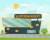 Supermarket lägenhetstil stock illustrationer