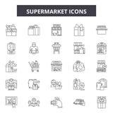 Supermarket line icons, signs, vector set, linear concept, outline illustration royalty free illustration