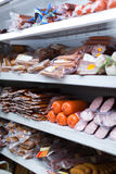 Supermarket with meat vacuum meat products Royalty Free Stock Photography