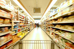 Supermarket Motion. Supermarket cart with blurred motion Royalty Free Stock Photos