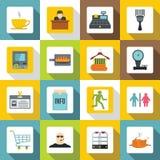 Supermarket navigation icons set, flat style Royalty Free Stock Images
