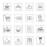 Supermarket navigation icons set, outline style. Supermarket navigation icons set. Outline illustration of 16 supermarket navigation vector icons for web Stock Images