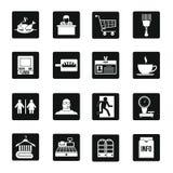 Supermarket navigation icons set, simple style Stock Photos