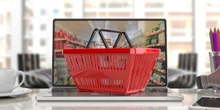 Supermarket online shopping. Shopping basket on a laptop.3d illustration Stock Photo