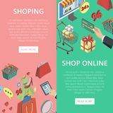 Supermarket online shopping vertical flyers. With isometric mall elements. Mobile marketing and distribution, e-payment and e-commerce, online order and home Royalty Free Stock Image