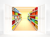Supermarket with open door Royalty Free Stock Photo