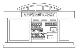 Supermarket outline illustration Royalty Free Stock Photos