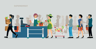 Supermarket Payout Points. The cashier accepts payments from the card in the supermarket Stock Images